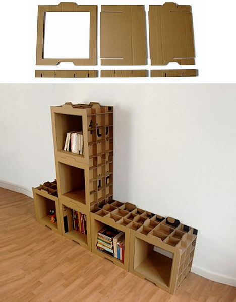 Cardboard Bookcases Shoebox Dwelling Finding Comfort Style And - Cardboard-bookshelves
